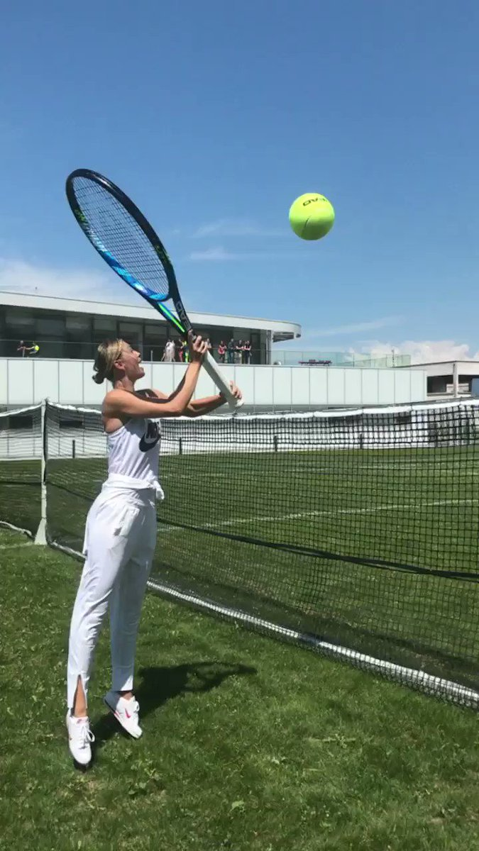 Grass court prep at @evianwater factory #evianOversize ???????????????? https://t.co/P35jTUWeZP