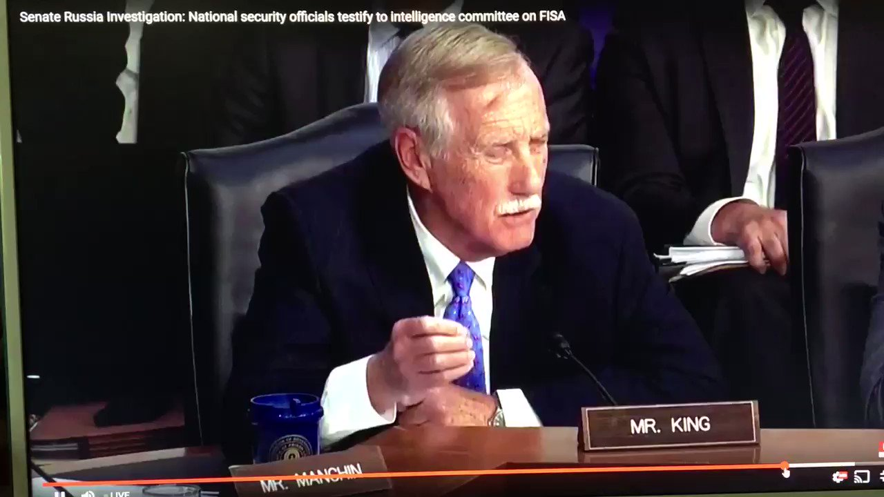 Stop everything and watch Sen. Angus King grilling Coats and Rogers on legal basis for their refusal to answer Q https://t.co/ONZiQWbjal