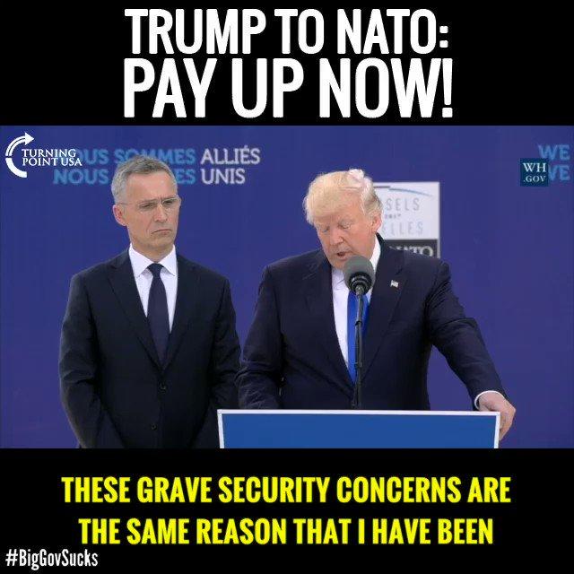 BOOM!  @POTUS @realDonaldTrump Unloads On NATO Members For Their Free Ride On The Backs Of Americans!  #BigGovSucks https://t.co/6l2YugMW0a