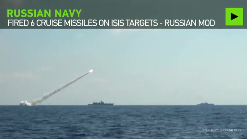 Russian warships & sub launch cruise missile attack on ISIS targets in Syria