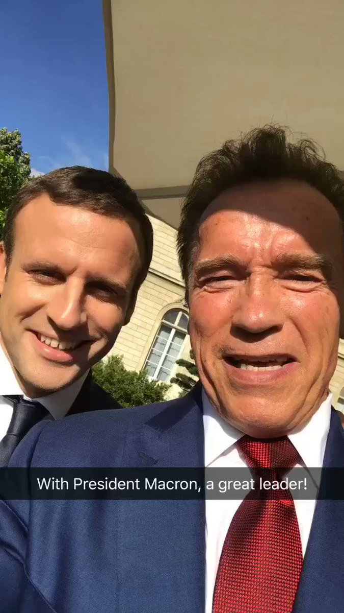 Posse politics: Schwarzenegger & Macron join forces to troll Trump (VIDEO)