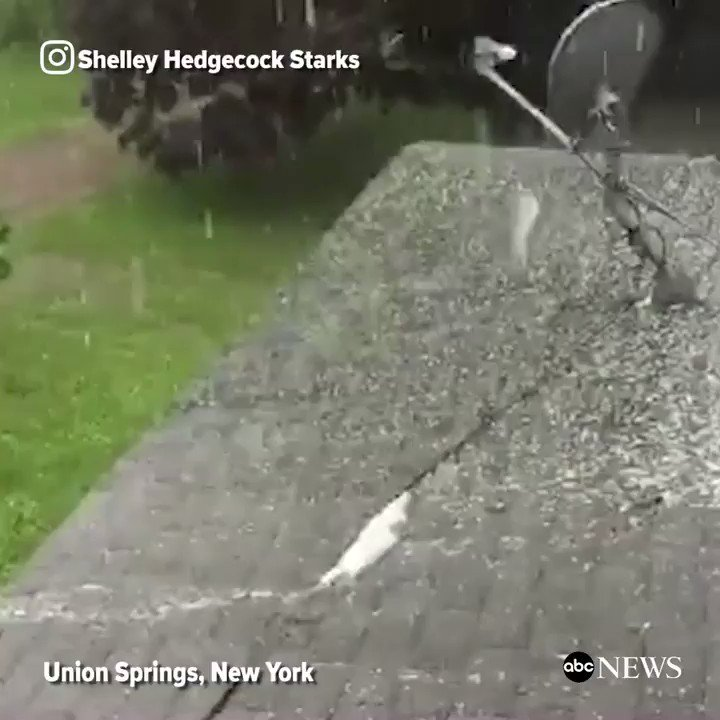 Thunderstorms roll through central New York, bringing hail to the surrounding area.