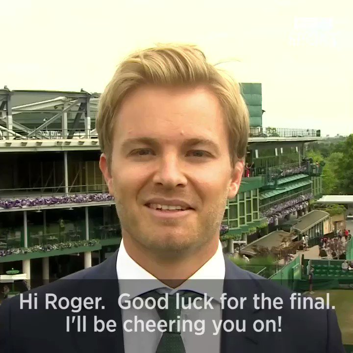 Nick Rosberg has a good luck message for Roger Federer.  #WimbledonFinal https://t.co/zd4woeIj5d