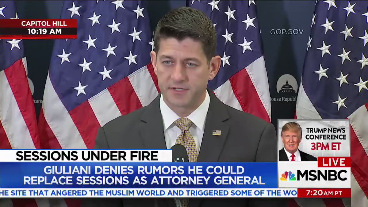 Asked about Sessions, Paul Ryan says it's up to Trump to make personnel decisions https://t.co/dFCrdHUeni