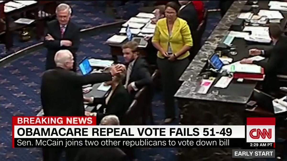 "Watch the moment Sen. John McCain voted no on the ""skinny repeal"" of Obamacare"