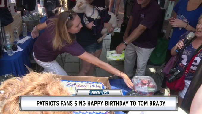 "It was a festive atmosphere at Faneuil Hall as Patriots fans sang ""Happy Birthday\"" to Tom Brady."