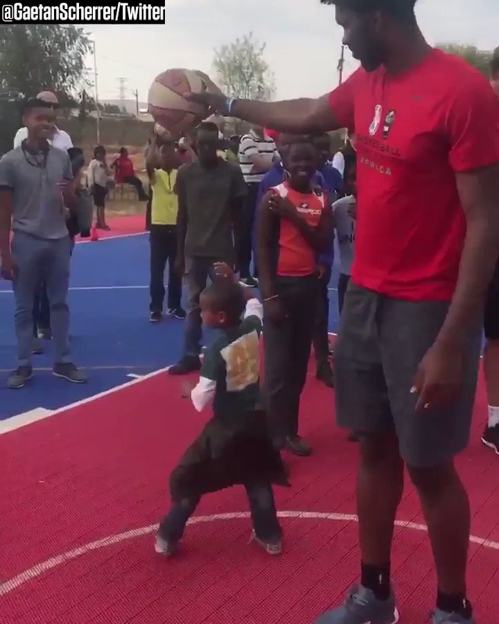 Joel Embiid is pretty tall ... and he knows it �� https://t.co/OzstfFV2JN