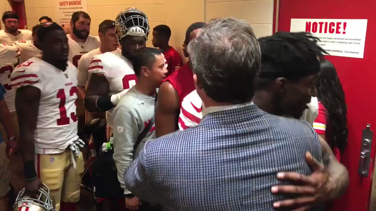Heading home with the W. @JohnLynch49ers with the guys postgame. #BrickByBrick https://t.co/T62xZ8eYcx
