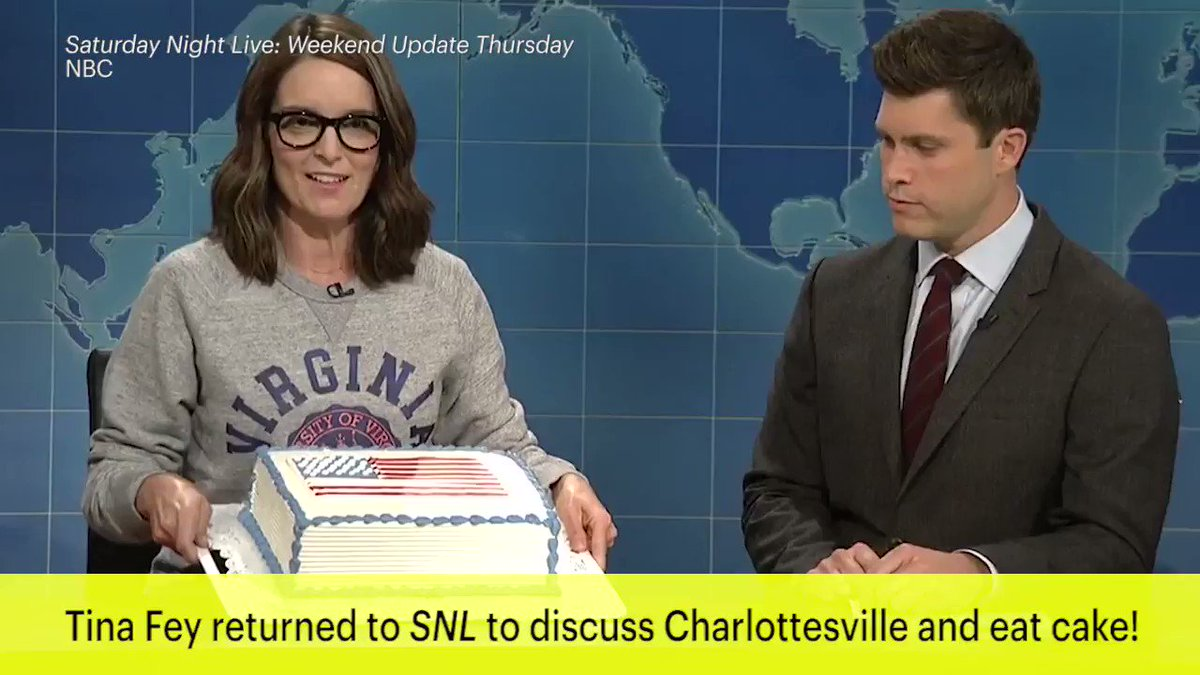 Tina Fey joined Weekend Update again to eat cake and rip Trump: