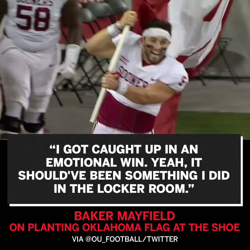 Baker Mayfield says his emotions got the better of him after the win. https://t.co/fChahnAzZy