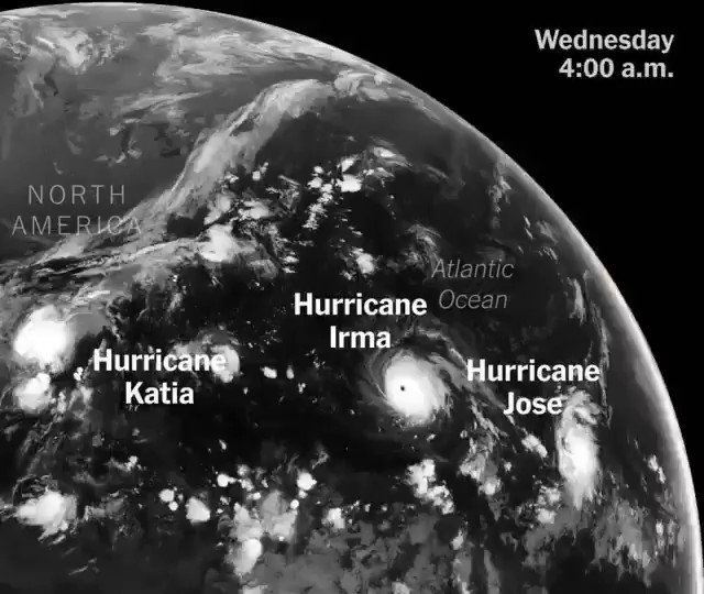 Watch Hurricanes Irma, Jose and Katia from 22,000 miles above Earth https://t.co/Ke66VskMMC https://t.co/oP0jKYpYFF