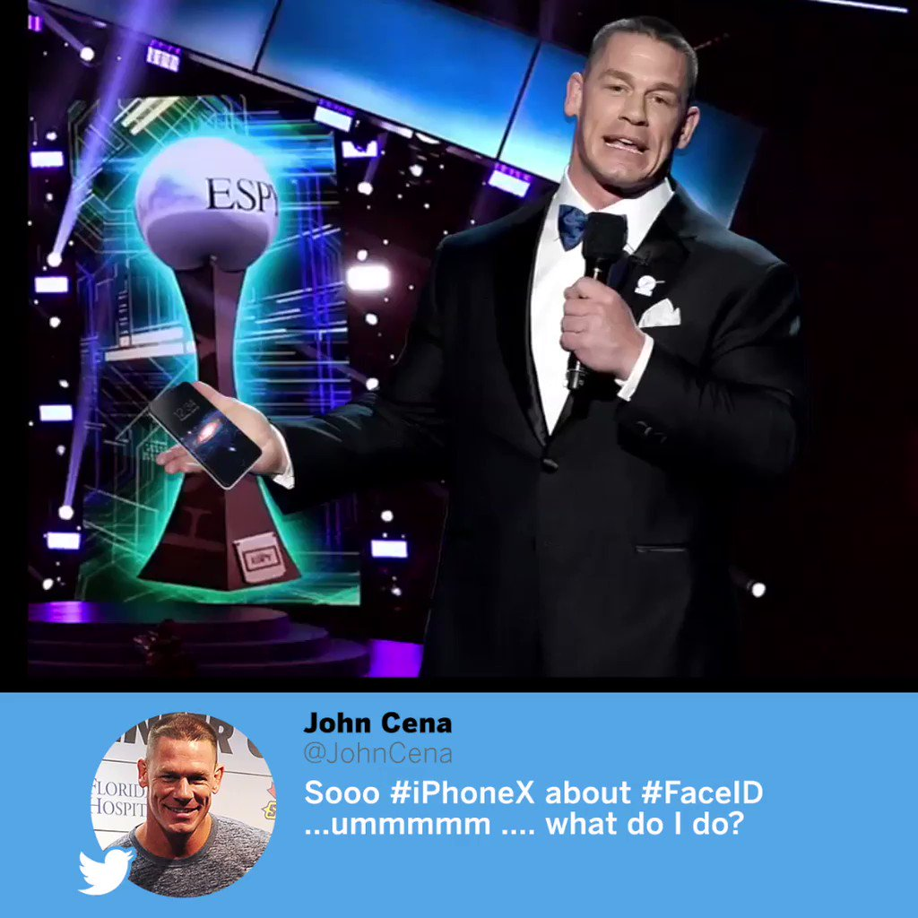 Apple clearly didn't have John Cena in mind when they designed the iPhone X ... https://t.co/tmAMfeU4Mg
