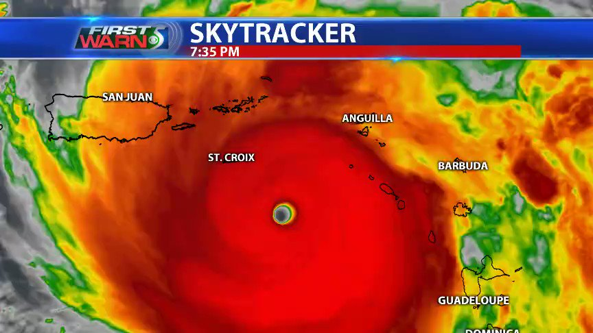 St. Croix to take a hit from #Maria's eye wall later tonight, with Puerto Rico in line for a direct hit Wednesday. #FirstWarn5 https://t.co/LACKjekf8n