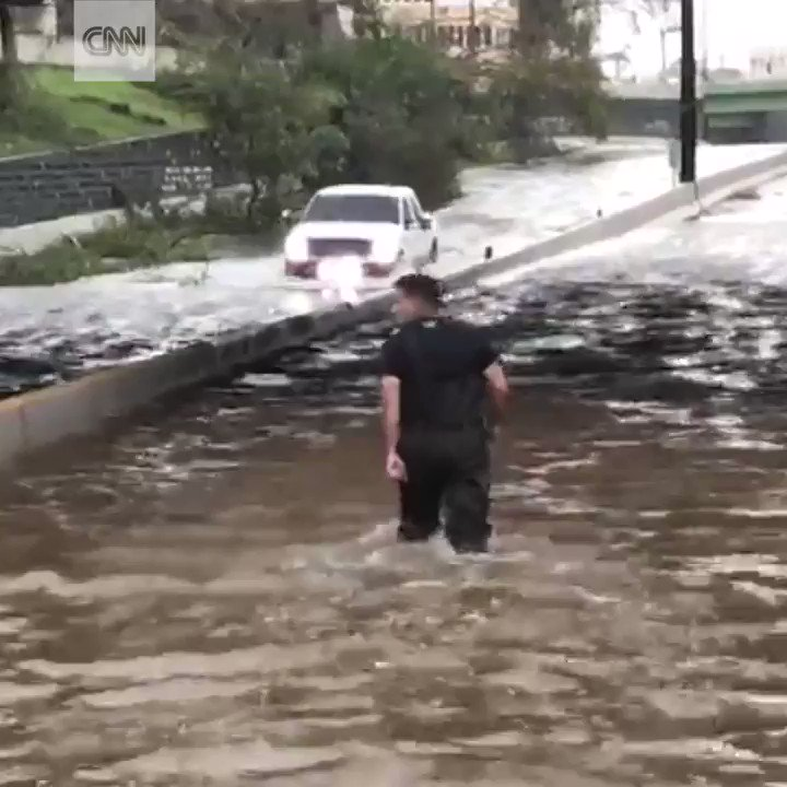 Hurricane Maria caused widespread flooding on the streets of San Juan, Puerto Rico
