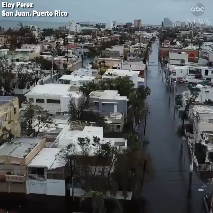 Drone footage shows flooded streets in San Juan, Puerto Rico, after Hurricane #Maria.