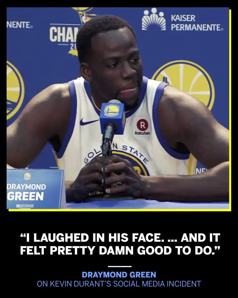 Draymond Green recalled his own social media incident as he discussed Kevin Durant's. https://t.co/2YjyomqrjQ