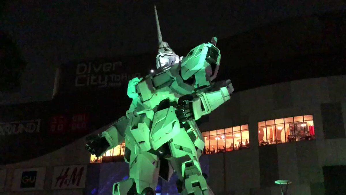 実物大ユニコーンガンダム立像 演出 19:30機動戦士ガンダムUC RE:MIX0096