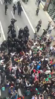 Catalan voters in Sabadell push back Spanish police this morning trying to stop #CatalanReferendum #referendumCAT