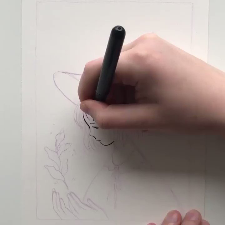 Process of the Inktober piece Healer✨ https://t.co/T5bi9UdSBt