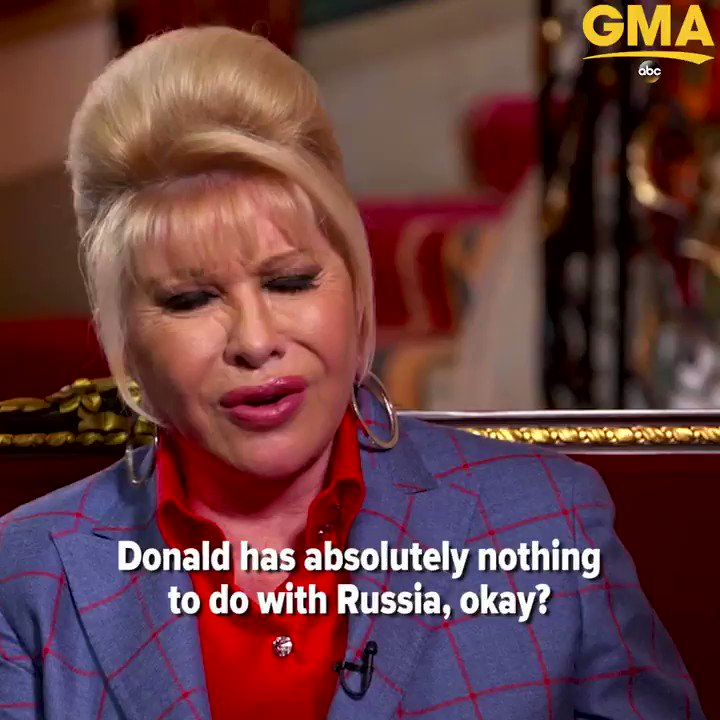 "Ivana Trump to @arobach on Russia probe: ""Donald has absolutely nothing to do with Russia."" https://t.co/SiTlUUDX2S https://t.co/nDB4x5SfV1"
