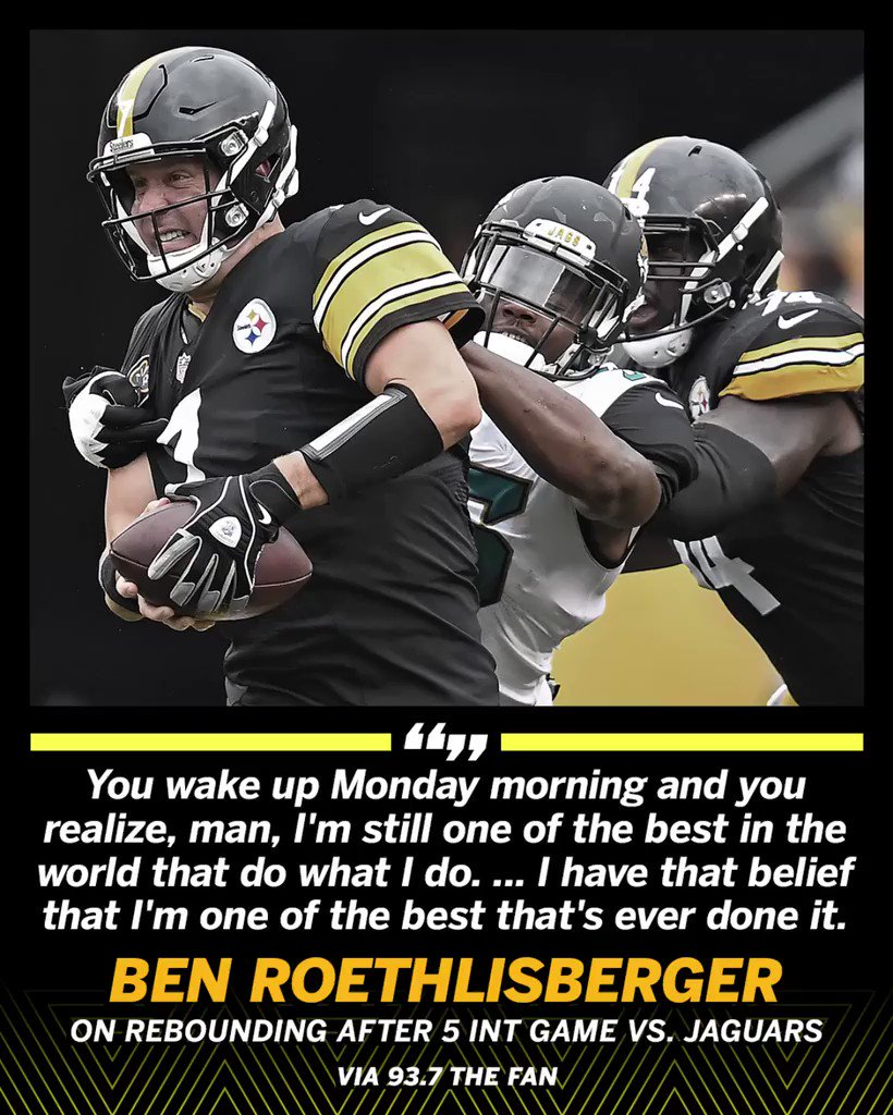Ben Roethlisberger's confidence hasn't wavered. (��⬆️) https://t.co/oc71MnWGYm