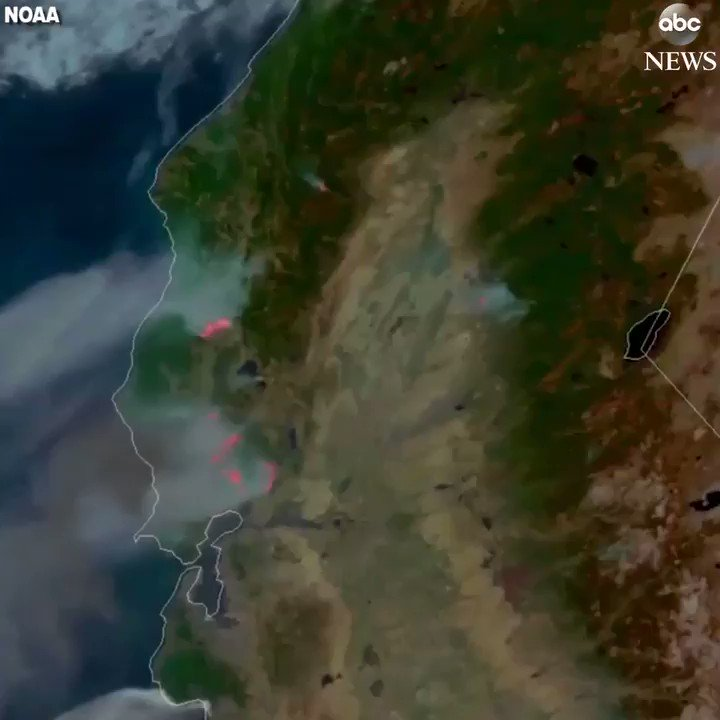Satellite video captures deadly wildfires burning across northern California.