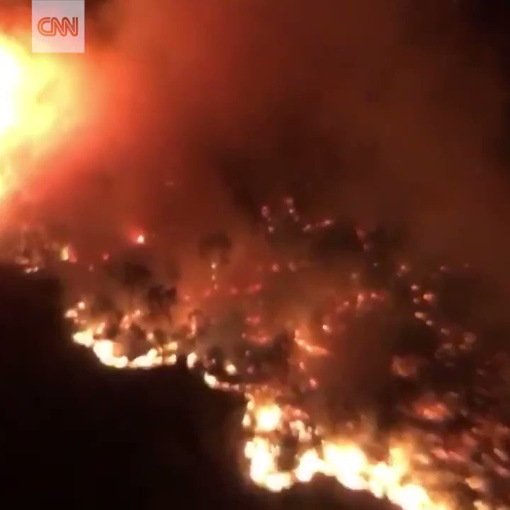 This aerial video shows wildfires raging in California's wine country