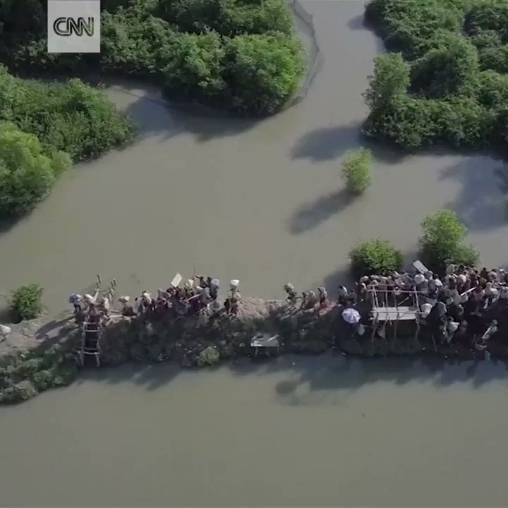 Drone footage shows Rohingya refugees fleeing in a mass exodus from Myanmar into Bangladesh