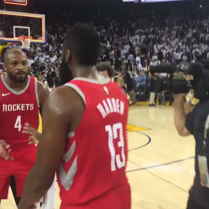 James Harden, Chris Paul & the @houstonrockets celebrate a wild season-opening #Rockets WIN! https://t.co/rCLuKFt1iU