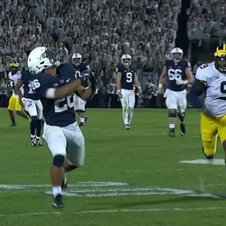WHAT?!Somehow Saquon Barkley snagged this and Penn State is rolling right over Michigan.