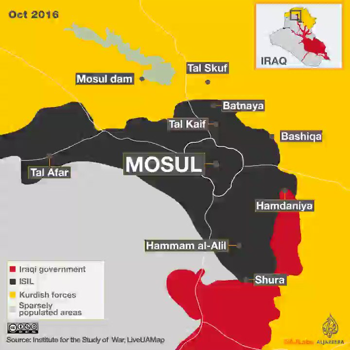 A time lapse map of ISIL's territorial loss in northern Iraq