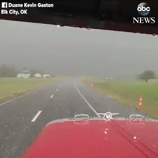 Hail pummels truck driving down Oklahoma highway as officials confirm at least 4 tornadoes touched down in the state https://t.co/SLS9PlWG1B https://t.co/7X1e9sPPPM
