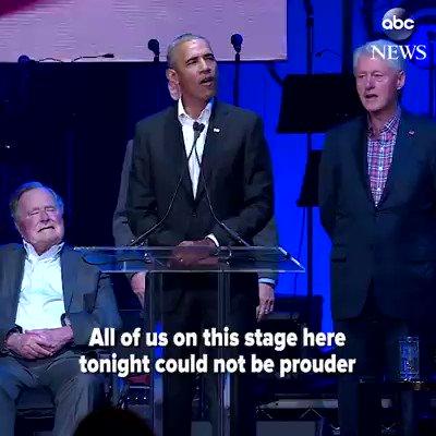Politics shoved aside as five former American presidents unite for hurricane relief concert. https://t.co/cVCIbqpNpl https://t.co/HAA2DzPzHm