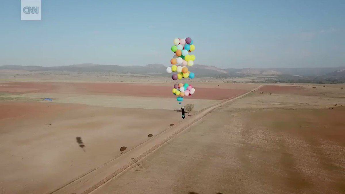 This man used party balloons filled with helium to fly 15 miles over South Africa