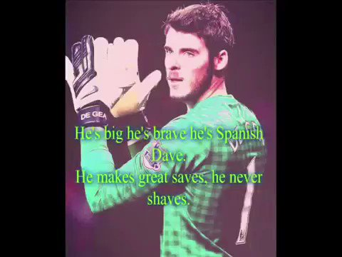 "Happy Birthday David de Gea!!   ""He\s flying through the air,  come and have a shot if you dare.\"""