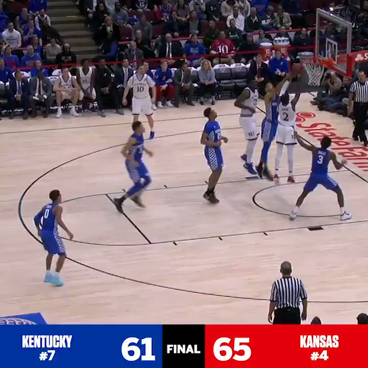 What a game!   No. 4 Kansas hangs on to take down No. 7 Kentucky in a battle of the blue bloods. https://t.co/ViptAitjPh