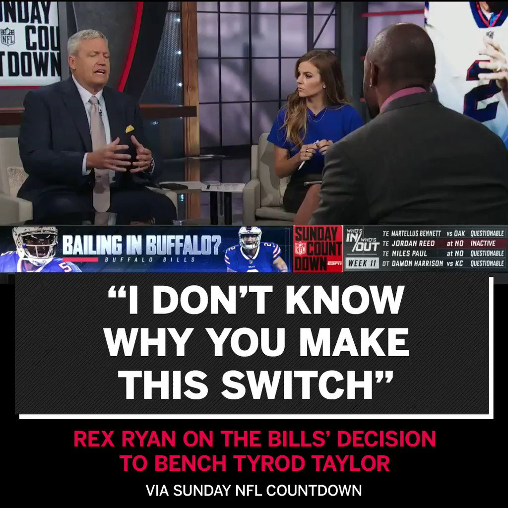 Rex Ryan does not agree with benching Tyrod Taylor. https://t.co/jh3tgSThyE