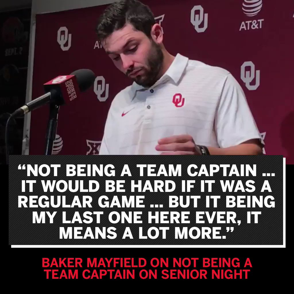 Baker Mayfield gets emotional talking about not being Oklahoma's captain on his Senior Night. https://t.co/7ywjMb7Ejj