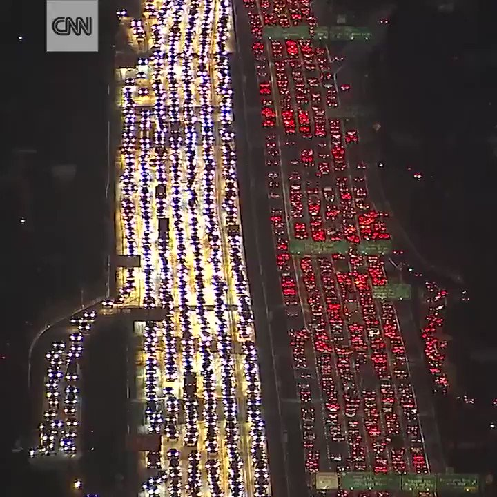 Aerial footage shows traffic gridlock in Los Angeles as the Thanksgiving travel rush begins