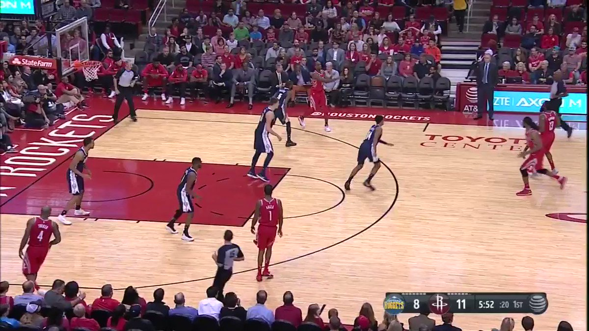 James with the court vision. �� Nenê with the finish. ��  #Rockets lead 22-10 https://t.co/YVdWNEyBVN