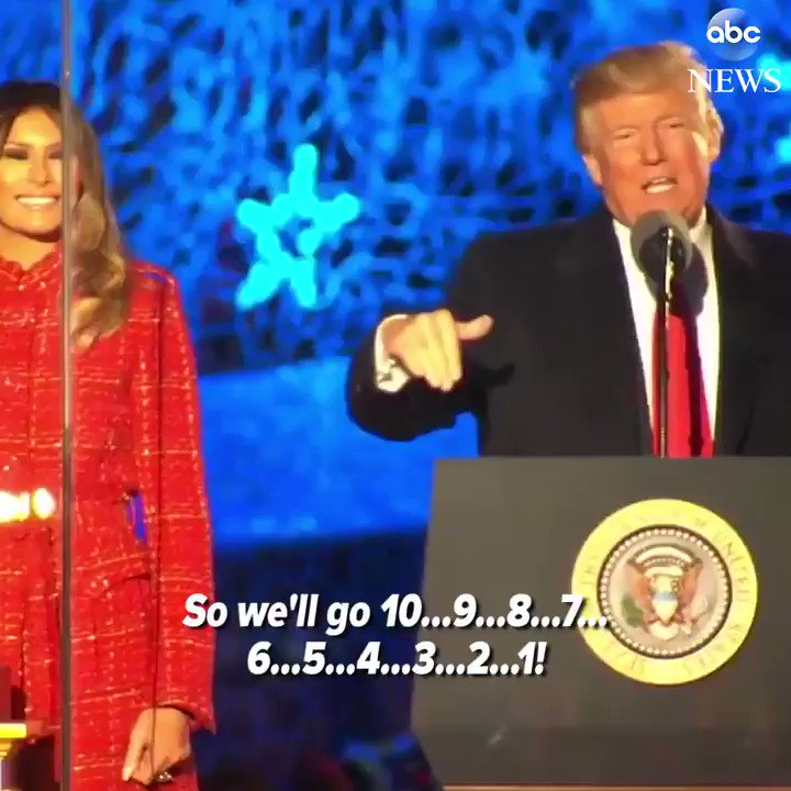 President Trump, First Lady Melania Trump light their first National Christmas Tree.