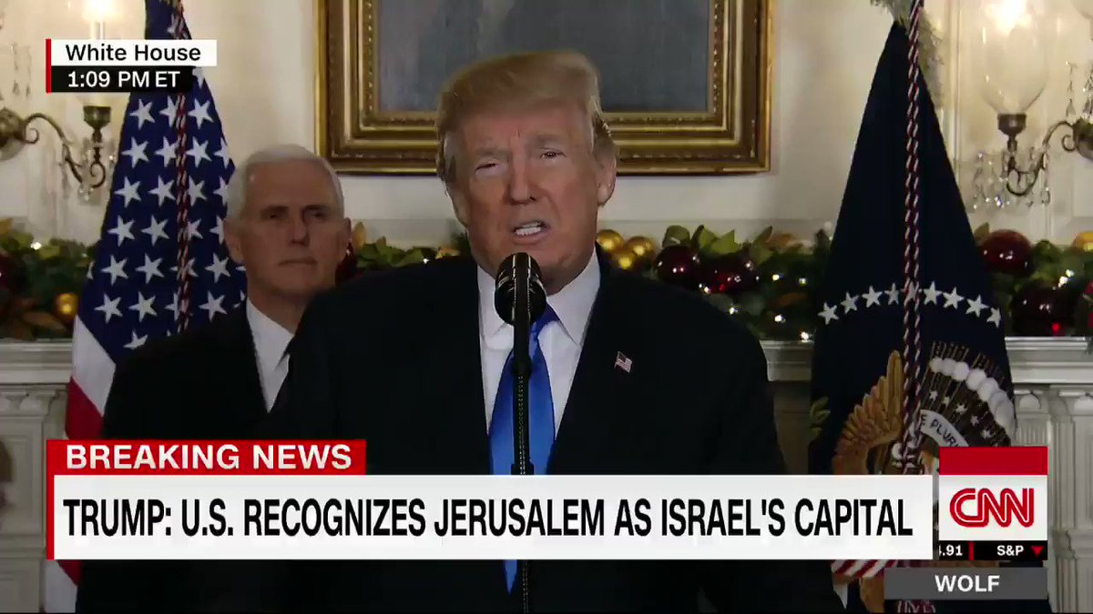 BREAKING: Trump: 'It is time to officially recognize Jerusalem as the capital of Israel' https://t.co/A6ag0EMSo0 https://t.co/oxMfMbxhoP