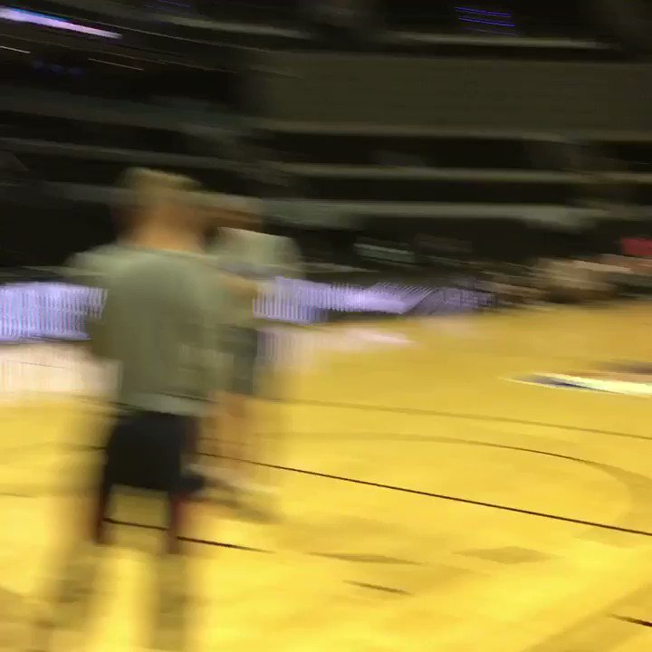 Russell Westbrook hits the floor for pre-game warm ups for #NBAMexicoGames! https://t.co/4u0LLbbaQw
