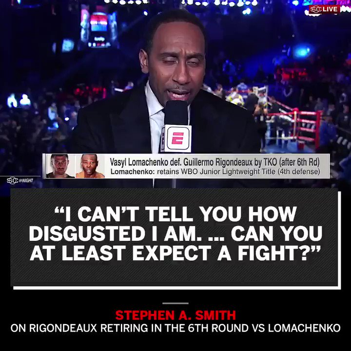 Stephen A. was disappointed Rigondeaux couldn't give Lomachenko a challenge. https://t.co/FT51bKISEH