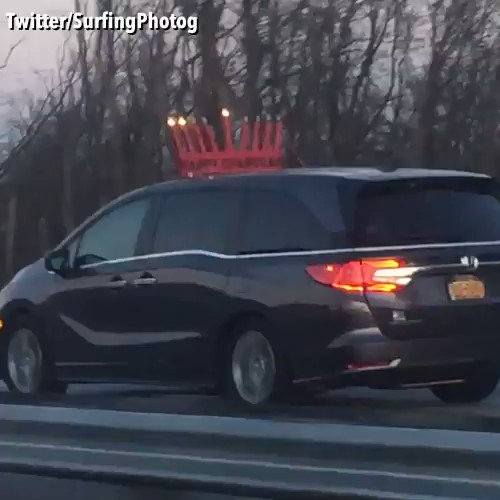 Who says you can't be in the holiday spirit while on the go! This giant Menorah was spotted traveling down the New Jersey Turnpike! (Credit: Twitter/SurfingPhotog) https://t.co/IzYYfhwy3Z