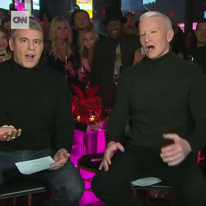 Andy Cohen and CNN's Anderson Cooper ring in 2018 in the heart of New York's Times Square