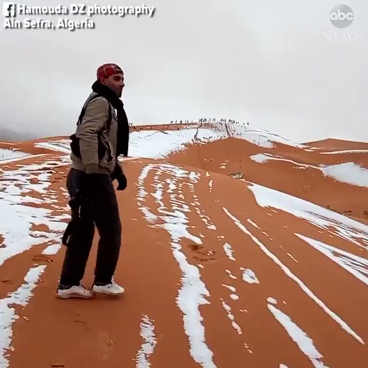 Rare snowfall blankets sand dunes in the desert town of Aïn Séfra in northwest Algeria. https://t.co/0Bwq7PMUiV https://t.co/QTdyZ91Q54