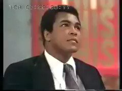 Muhammad Ali\s reaction when Joe Frazier walks in though...   Happy Birthday Joe Frazier!