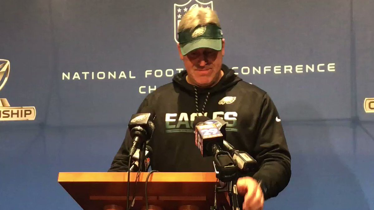 The #Eagles understand what's at stake this week. But despite new backdrops and trophies next to the podium, they're trying to treat it like any other game.   #FlyEaglesFly @FOX29philly https://t.co/1XS5epBlYI