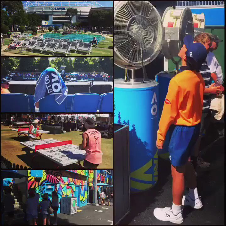 Brutal conditions on and off court as the temperature nudges 40C on day four... #AusOpen ☀️���� https://t.co/D9ULXLq1QP